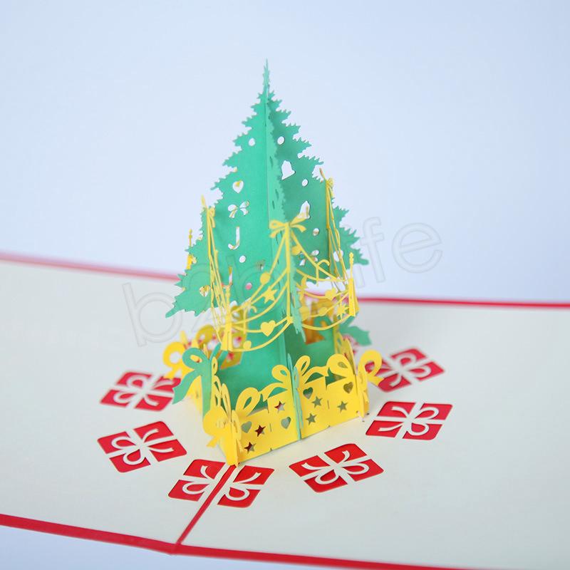 Tarjetas de felicitación de navidad 3d hecho a mano pop-up tarjetas de felicitación regalo de Navidad hecho a mano 3D Tarjeta de papelería Retro Perforado Post Tarjetas de Regalo GGA1182