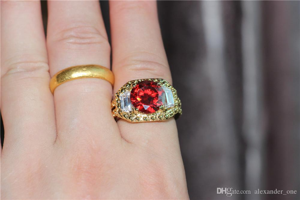 18K Yellow Gold Filled Round Ruby Sapphire CZ Simulated Diamond Carving Craft Ring for Men