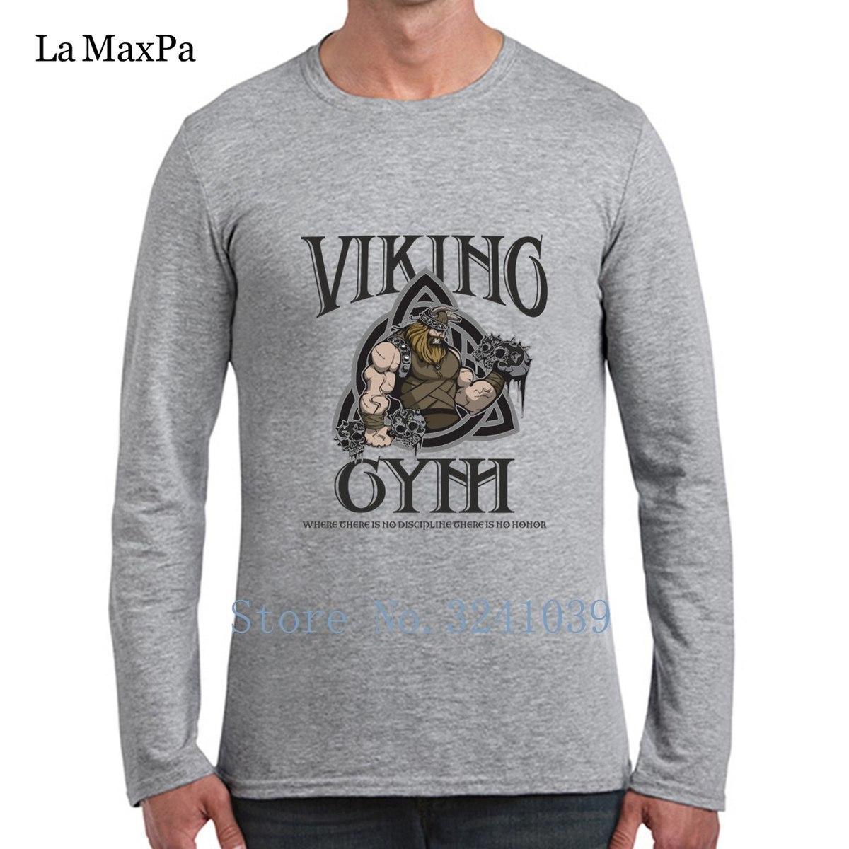 Kostüm Yeni Viking Spor Salonları Tee Gömlek Eğlence Ince Düzenli T-Shirt Erkekler Için Bahar Sonbahar Pamuk Basit Erkek T Gömlek Tee Tops