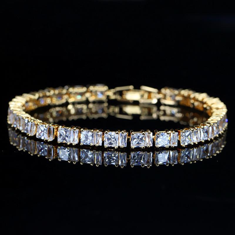 Jewelry Heat Environmental Protection Copper Electroplate Gold Zircon Bracelet Set Zirconium Shi Baoshi Hand Decorate