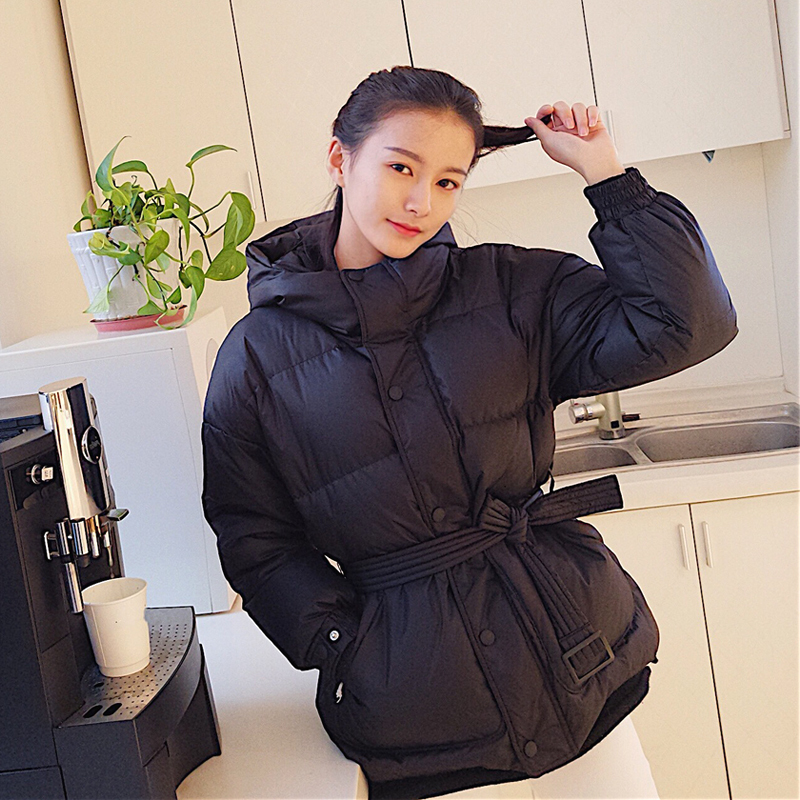 Fitaylor Ultra Light Down Jackets Women Winter Slim Hooded Duck Down Coats Parkas With Belt Black Pink Red Snow Outwear L18100902