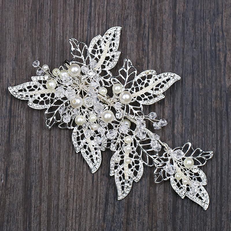 Handmade Silver Barrettes Wedding Hair Accessories Pearl Head Clip Rhinestone Hair Ornament Leaves Crystal Style Hair Decoration (6)
