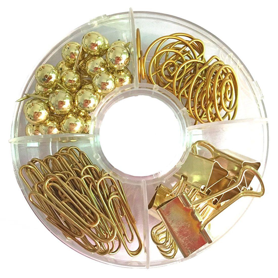 5 Stücke Goldene Büroklammern mit Bunten Glaskugel Metall Lesezeichen