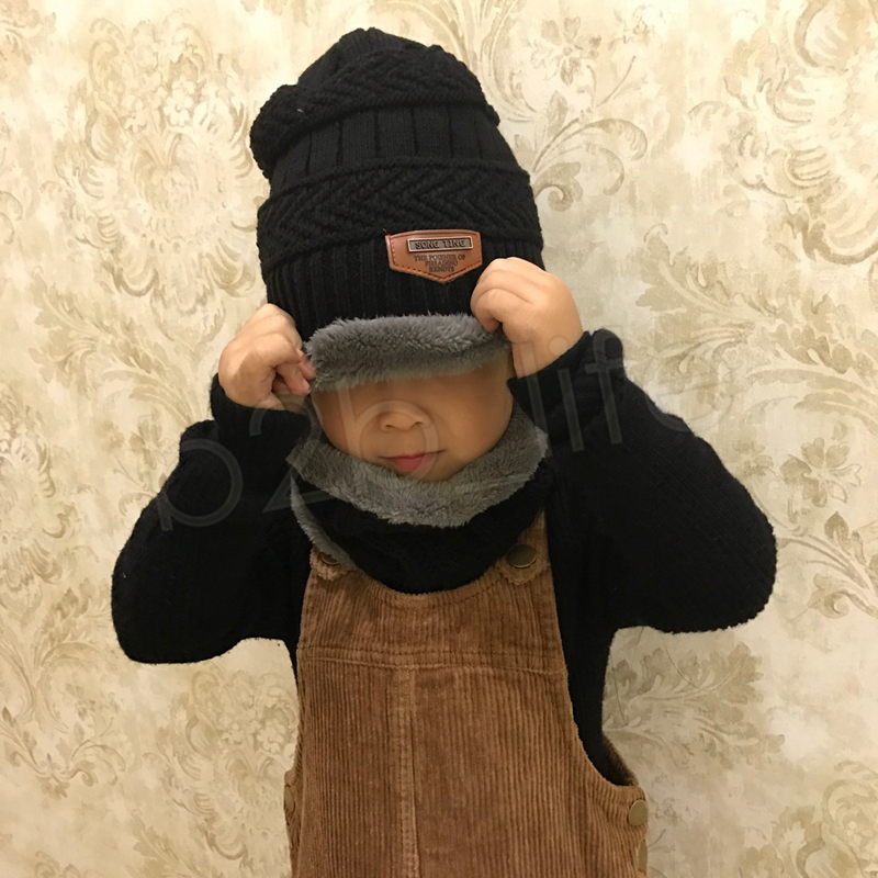 Boys Winter Knitted Beanie Hat and Scarf Set Toddler Kids Warm Fleece Mask Balaclava Cap Outdoor Skiing Sports scarf sets GGA1070