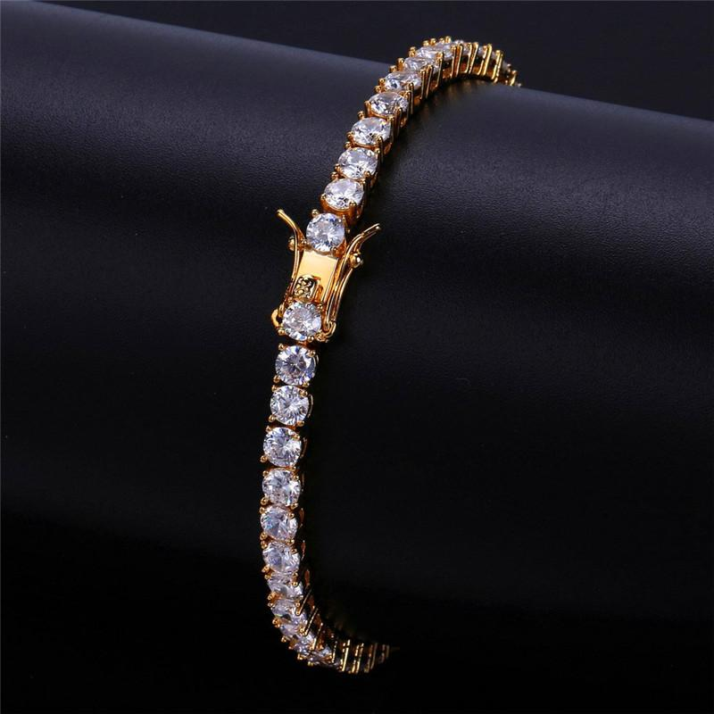Hot Style Fashion Design Men Bracelet Luxury Gold Plated Chains Cool Bracelets Bangle for Man Hip Hop Jewelry Bracelet Width 4mm