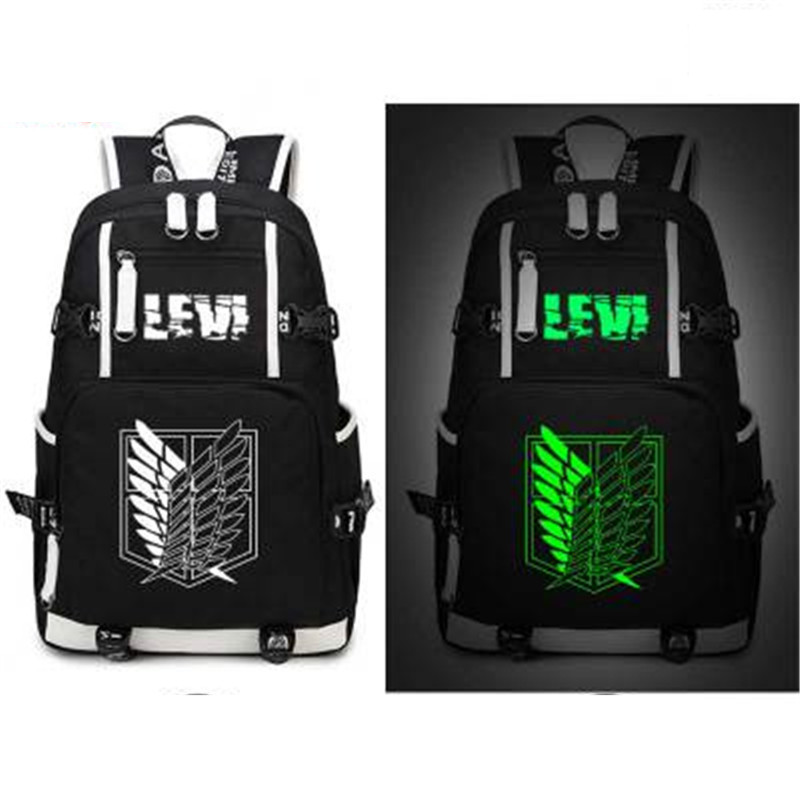 Attack on Titan give out light School bag Luminous cartoon backpack Laptop bag