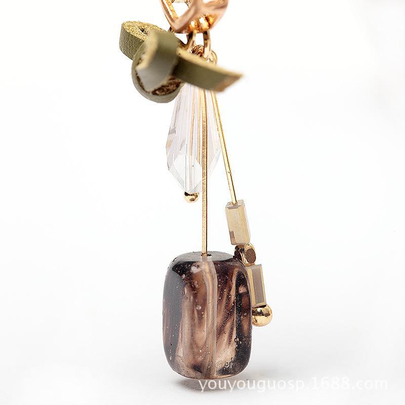 Bowknot crystal geometry stud Earring Stud Ear Stud Natural Stone Jewelry Ear Clip Earrings Women's Jewelry