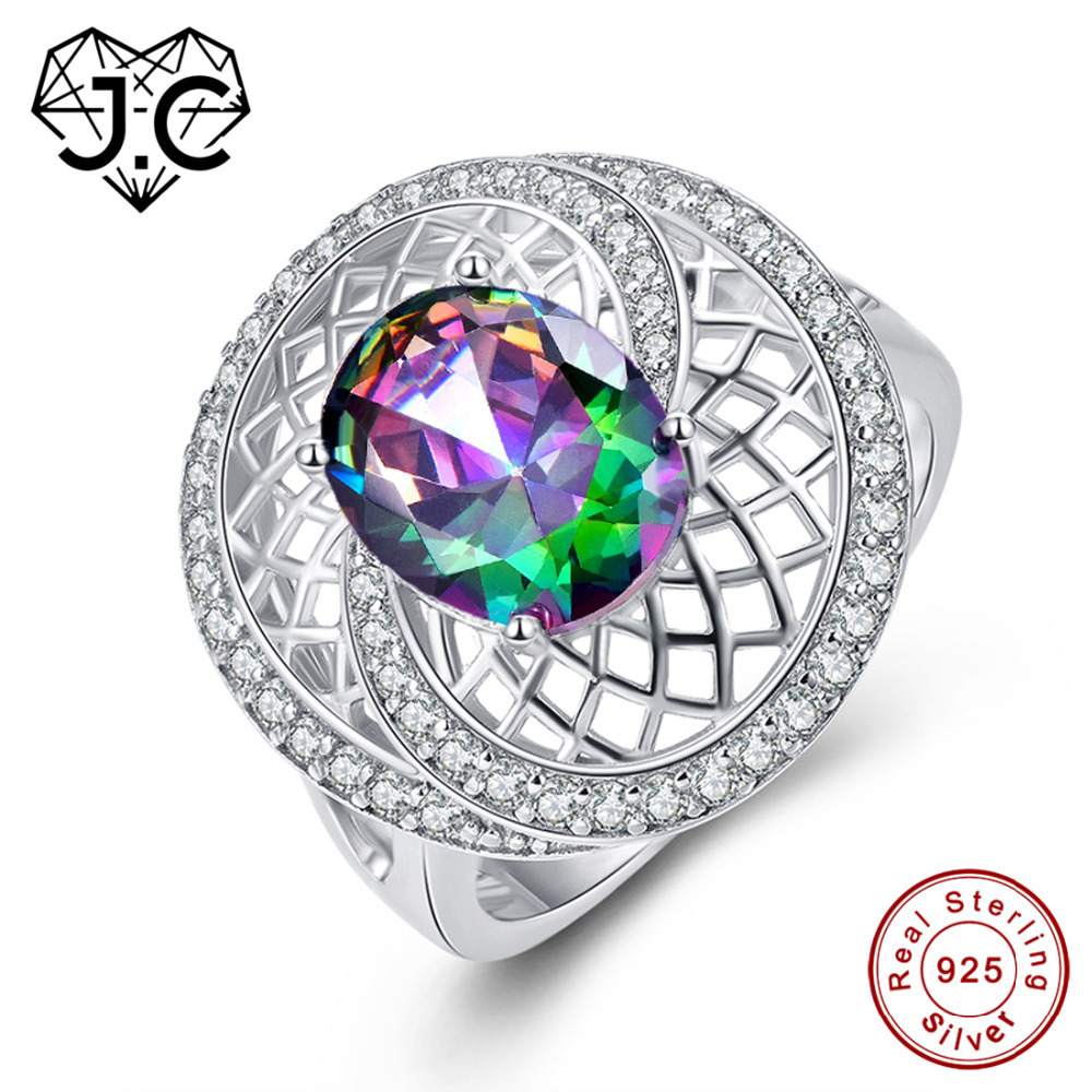 8 MM ROUND Rainbow Mystic Topaz White Fire Opal Silver ring US Taille 7 8 9 10