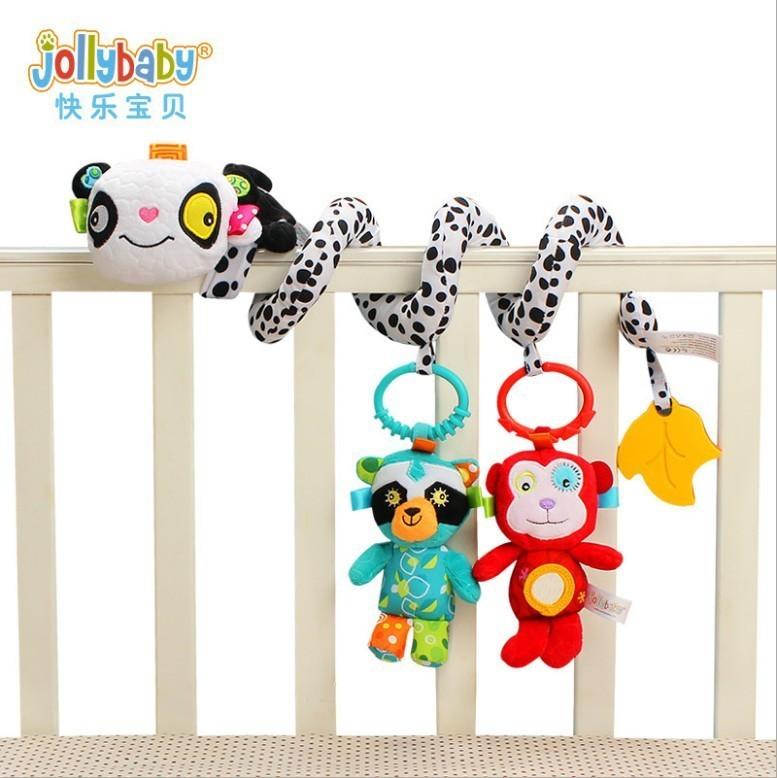 Jollybaby Bebek Bebek Yatağı Etrafında Yatak Spiral Arabası Asılı Ayrılabilir Çıngıraklar karikatür peluş Saat kayışı En Iyi Hediye oyuncak