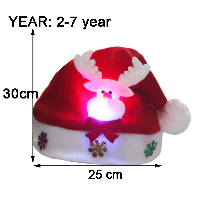 Christmas Hats Santa Cap Kids And Adult Size LEDLight UpLuminous Christmas Hat Decoration New Year Xmas Gifts Party Supplies (6)