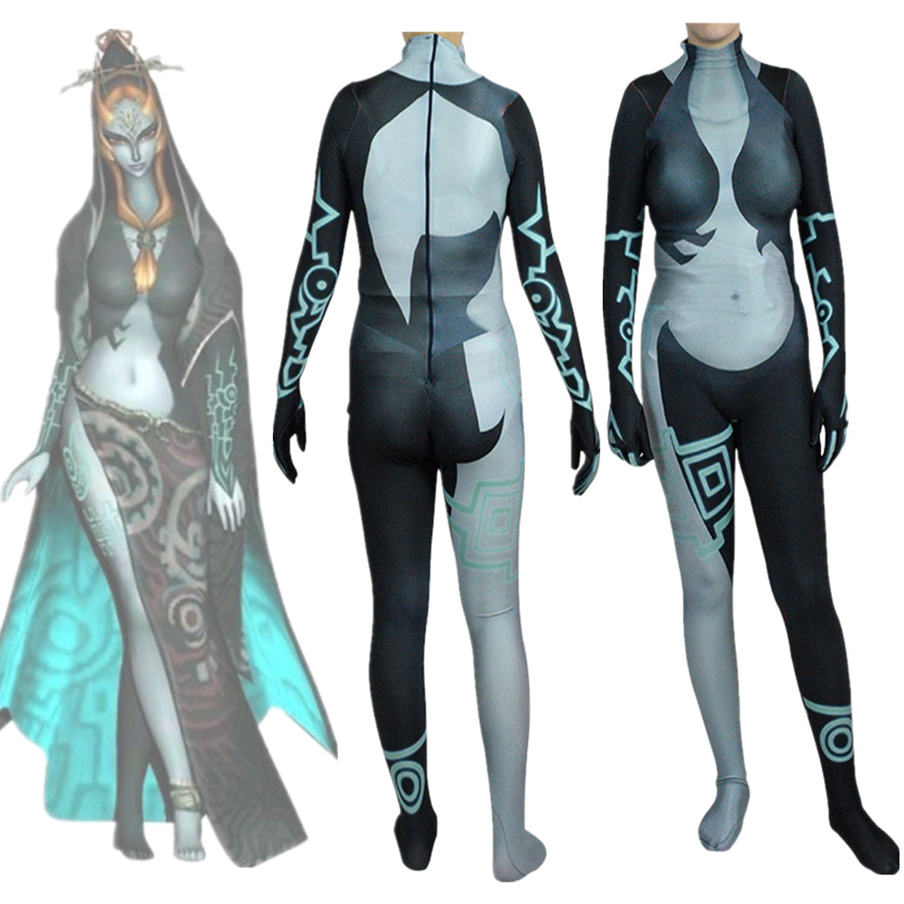 Game Women Midna Bodysuit Costume Zentai Jumpsuit Cosplay Suit