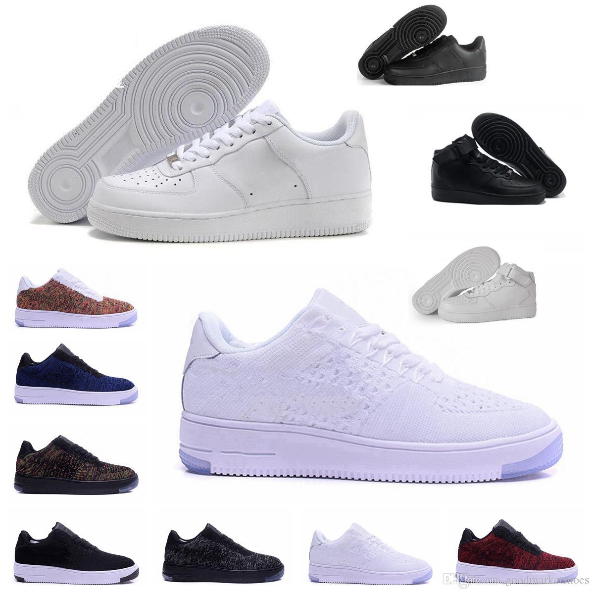 Nike Air Force one 1 Chaussures Classiques MID 07 Un Homme Femmes Chaussures de Course 1 Noir Blanc Sport Baskets Noir Casual Skateboard Trainers