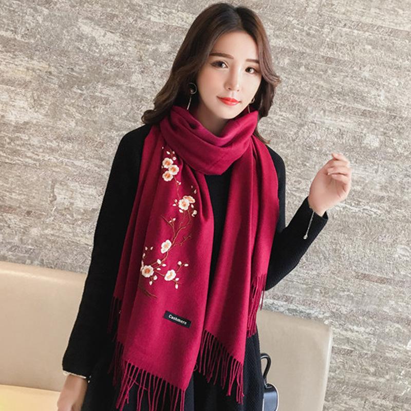 Donna Scialle Sciarpa Hijab Wrap grandi Invernale Ricamato Caldo Cashmere