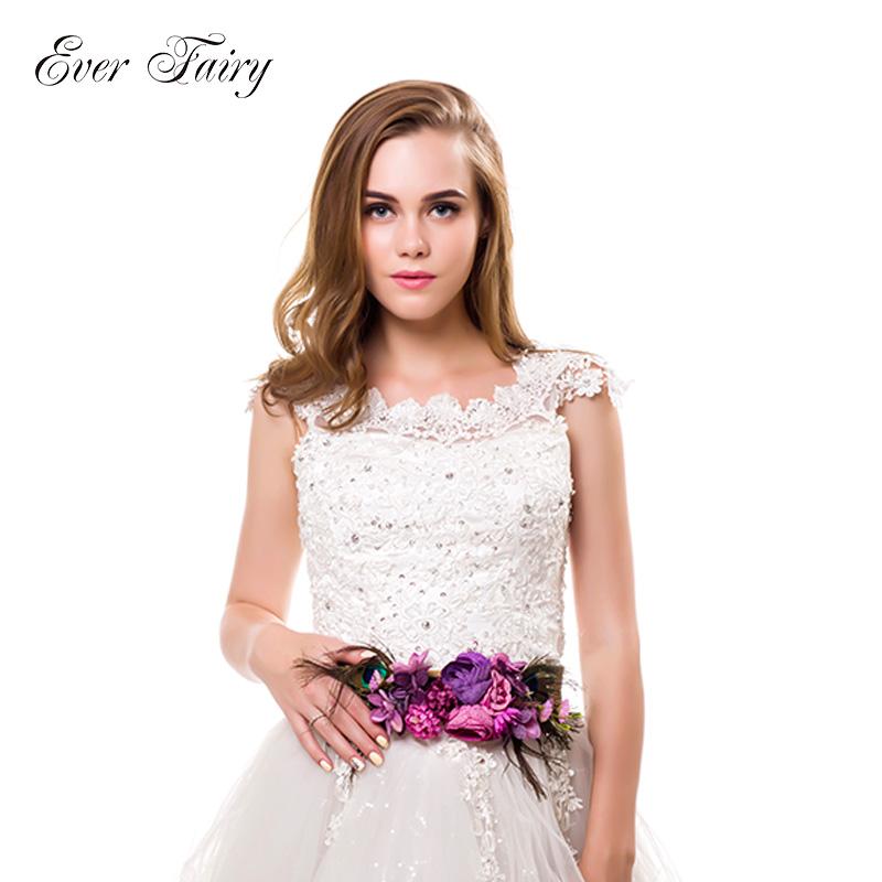Ever Fairy Cintura per capelli a forma di fiore fatta a mano per donna ragazza Accessori per cintura in tessuto elastico con cintura in piume