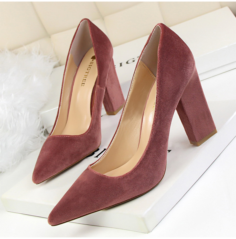 Women\`s Pumps Shoe Slip-On Wedding Women Shoes High Heels Sandals Silver Office Lady Shoes Woman High Heel Mules Square Heels (8)