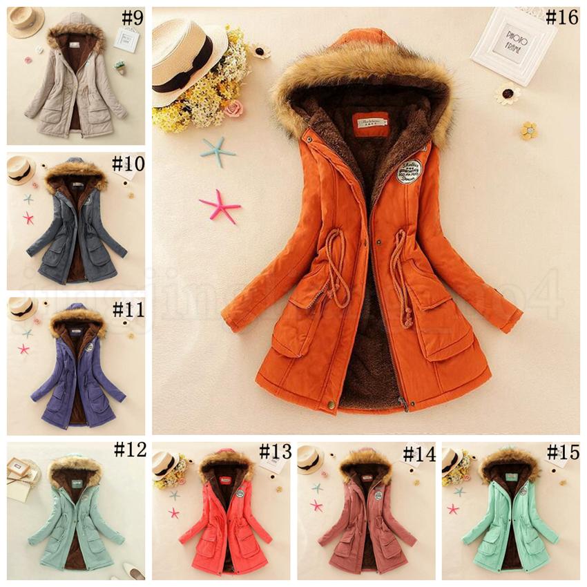 Lã de cordeiro com capuz de algodão casacos 16 cores Queda Casaco de inverno gola de pele quente com capuz de manga comprida sobretudo LJJO5844