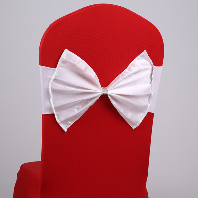 Elastic Organza Chair Covers Sashes Band Wedding Bow Tie Backs Props Bowknot Spandex Chairs Sash Buckles Cover Back Hostel Trim Pink