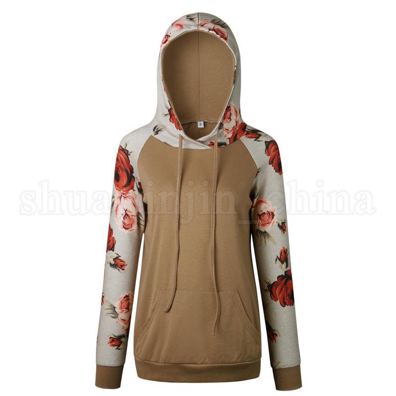 6styles Women Patchwork Raglan Floral Printed Hoodies Hooded Pullover Autumn Long Sleeve Sweatshirts Clothing Tee Top Casual Sweater FFA1177