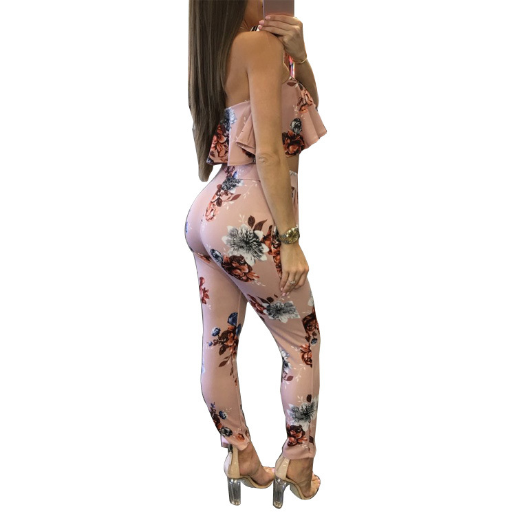 Fashion Sexy Casual Two piece Set Women Tracksuit Outfits Strapless Crop Top Long Pants Floral Print Ruffles Bodycon Set Pink