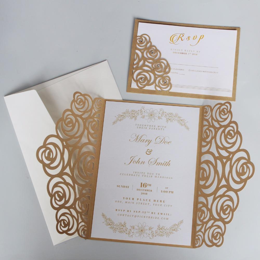 Gold Rose Wedding Invitations, Luxury Wedding Invite, Shiny Invitation Cards  With Customized Wording Set Of Diy Wedding Invitation Ideas Diy Wedding  Invitation Templates From Youerwedding, $122.9| DHgate.Com