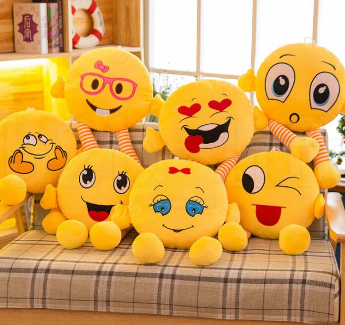 QQ Expression Pillow 37cm Emoji Pillows Cushion With Leg Cartoon Facial Decorative Pillows Stuffed Plush Toy Novelty Doll KKA6139