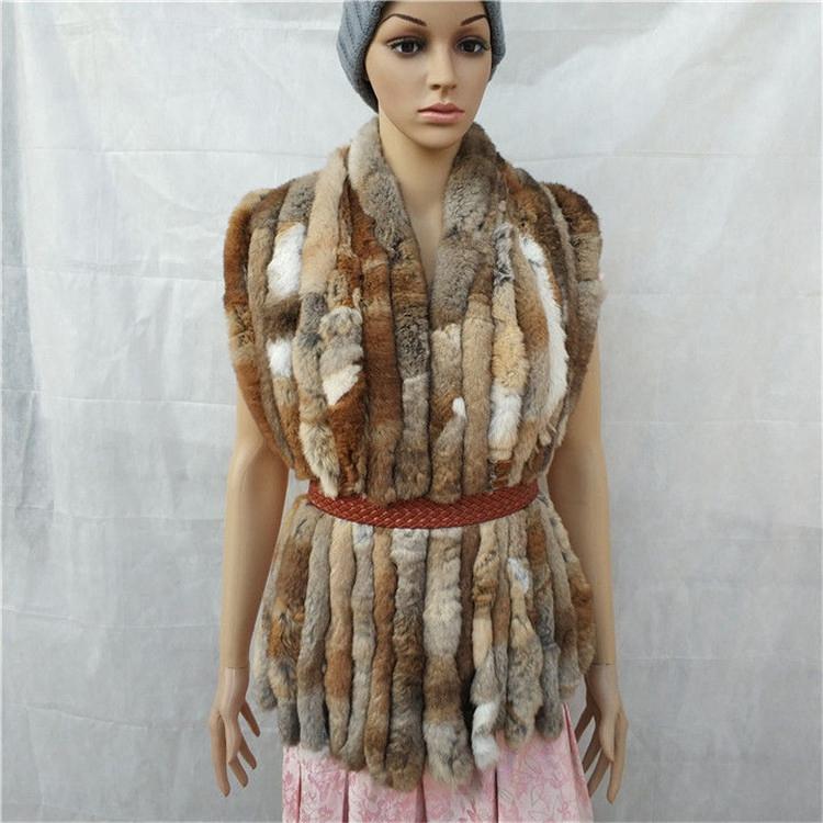 knitted rex rabbit fur scarf for women winter (7)