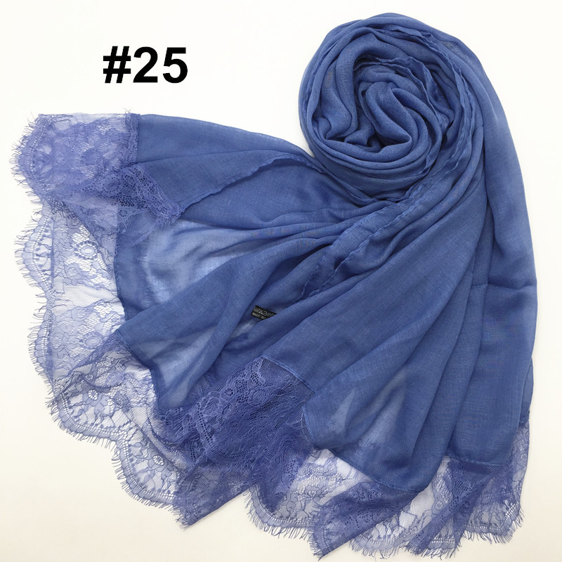 2017 Ladies Lace edges beautiful hijabs Scarves Women Plain/solid Cotton viscose Head Scarf oversize muffler shawl D18102406