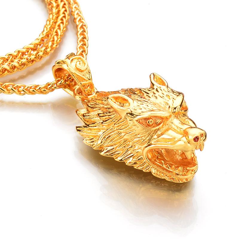 Pez De Bronce para Hombre Collar Colgante Collar Largo Cadena de oro para hombre Cool Rock