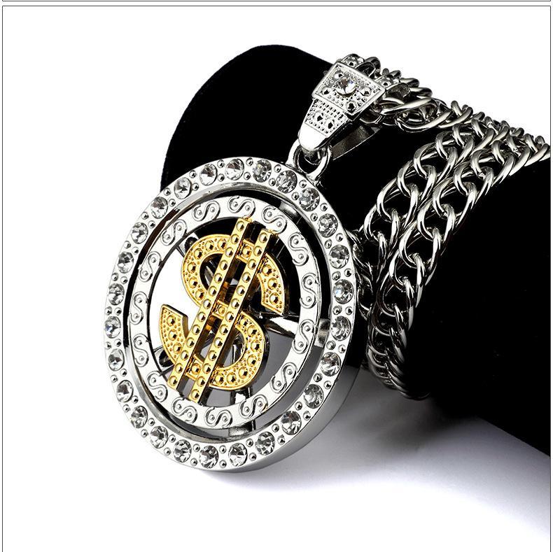 New Style Fashion Men Coin Dollar Necklaces Hot Luxury Design Money Seeker Necklaces Full Diamond Pendant Necklace Hiop Hop Accessories