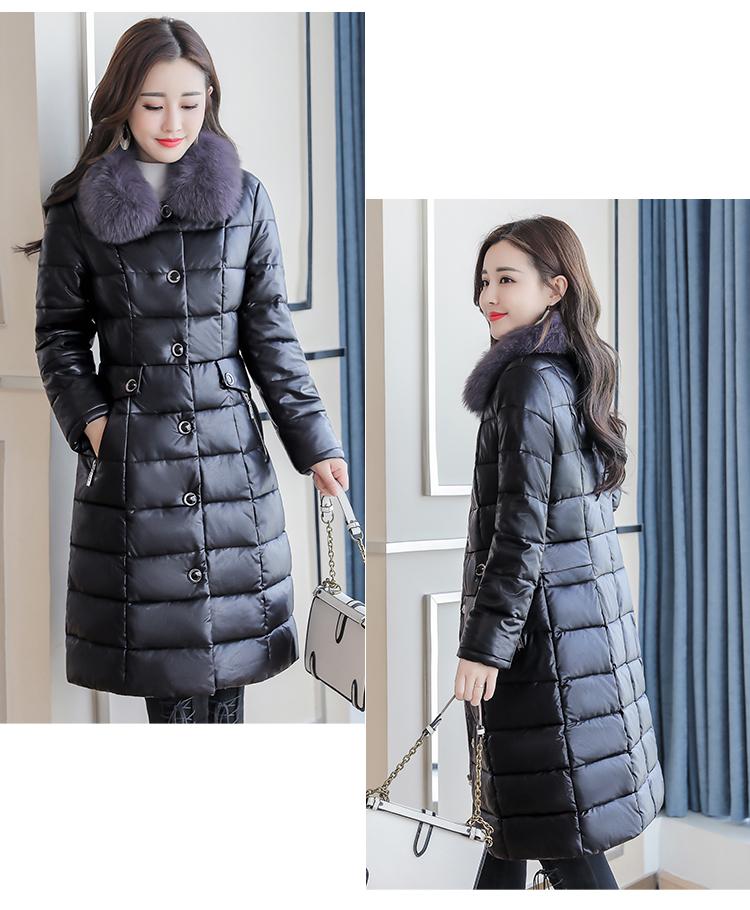 8300 Plus Size Faux Fur Collar Leather Jackets Women Slim Long Warm Down Fur Coat Elegant Top Quality Manteau Femme Hiver 5xl 2018 9