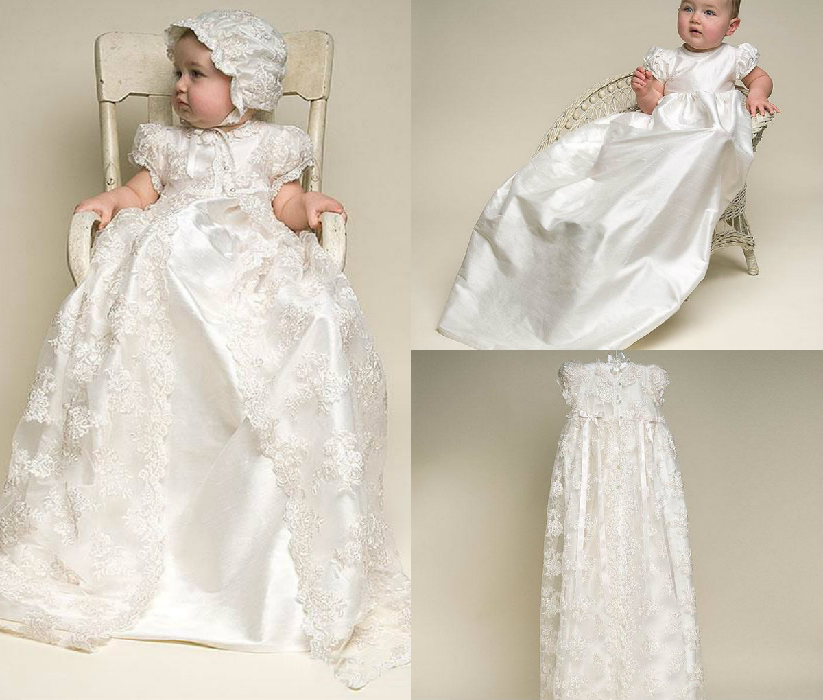 Newdeve Baby-Girls Satin Christening Gown Baptism Dress 0-24M