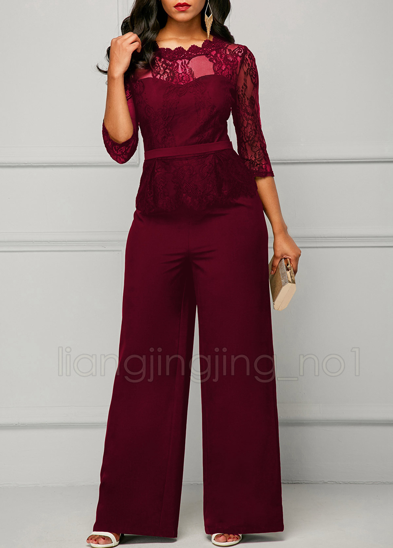 Sexy lace Jumpsuit Rompers long Sleeve pans Playsuit Summer High Waist lace Autumn Sexy suit Womens Jumpsuit Rompers GGA938