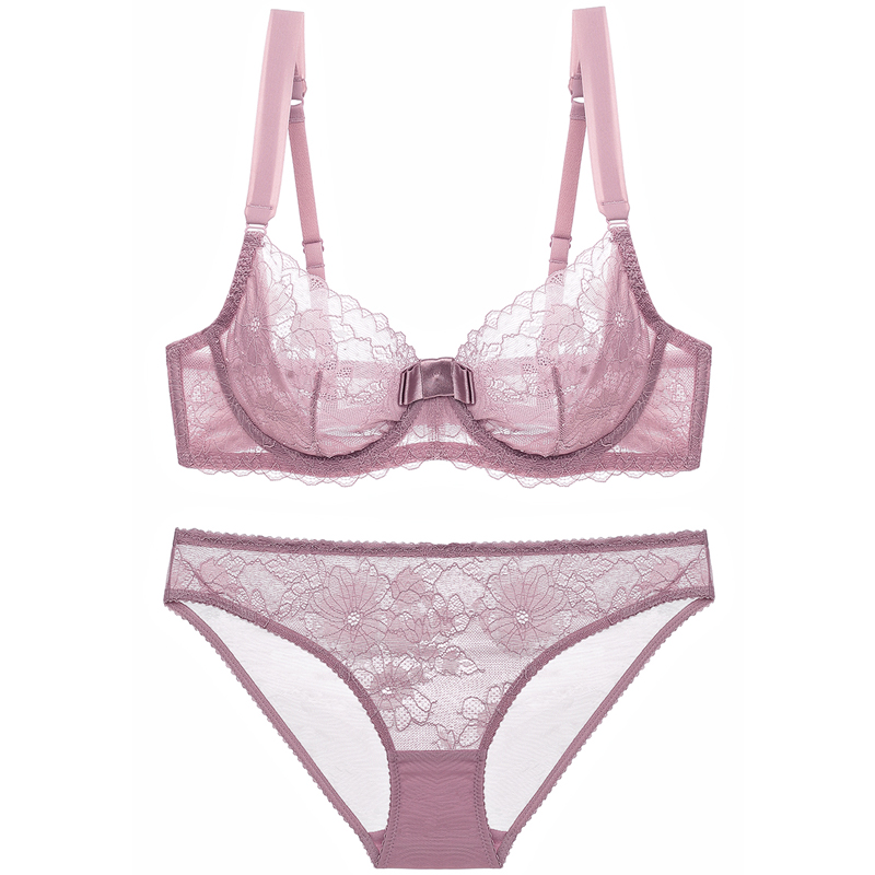 CCFCF Vintage Womens Gathered Embroidered Bra Set Front Buckle lace Beauty Back Underwear,C,80C lace Underwear Bra and Underwear