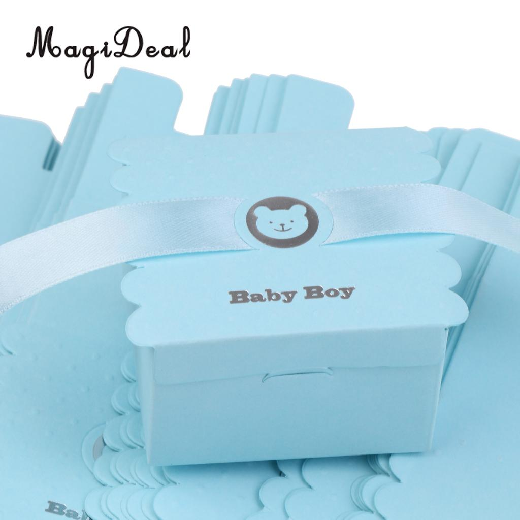 MagiDeal 50Pcs Lovely Paper Bear Baby Boy Sweet Candy Chocolate Boxes With Satin Ribbon for Baby Christening Baby Shower Decor
