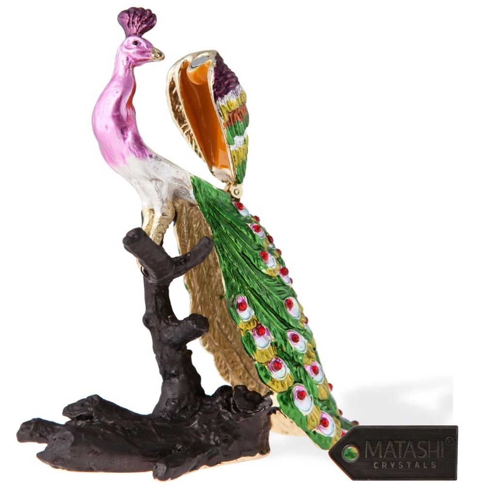 Hand Painted Regal Peacock on a Perch Ornament/Trinket Box Embellished with 24K Gold and High Quality Crystals by Matashi (3)