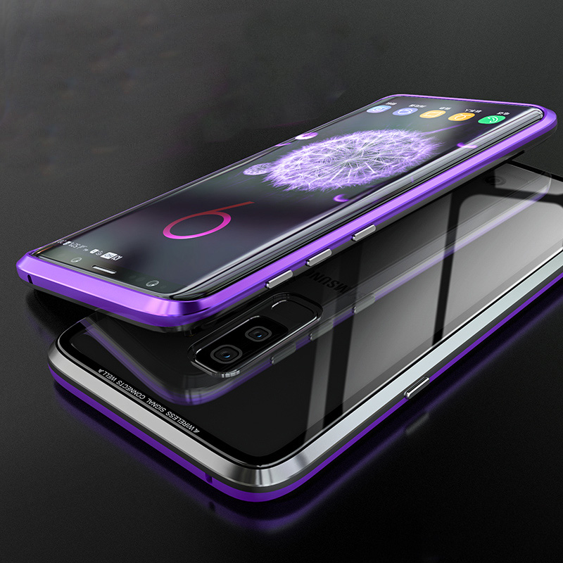 Magnetic Aluminium Metal Bumper Case for Samsung Galaxy S9 S9 Plus Case Original 9H Tempered Glass Back Cover for Samsung S9