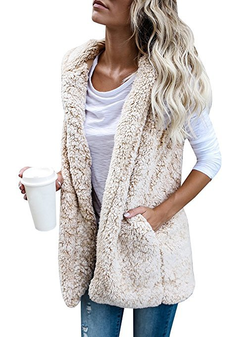 5styles Sherpa vest sleeveless warm cardigan warm Plush lint wool Waistcoat spring winter hooded sports outwear coat jackets FFA1015