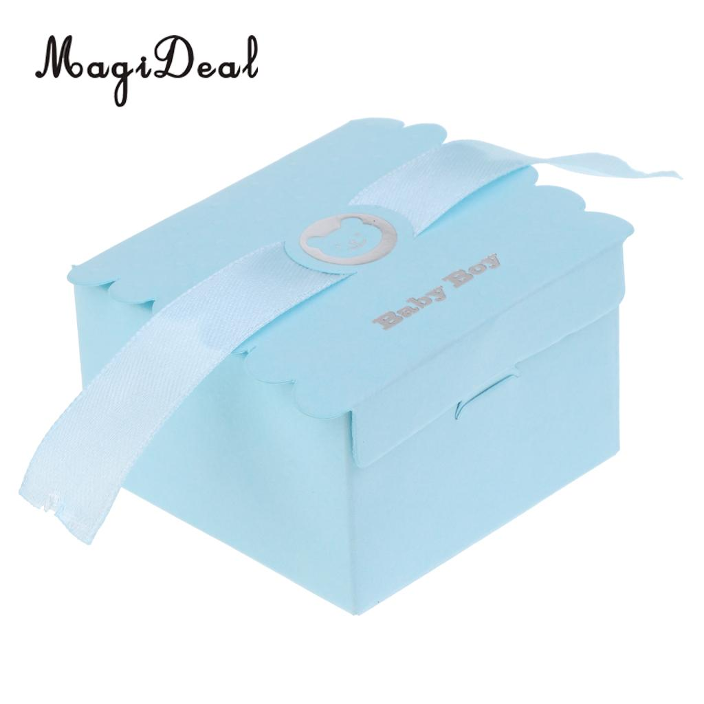 MagiDeal 100pcs Baby Boy Girl Paper Sweet Candy Boxes Baby Shower Birthday Party Gift Favor Pink+Blue