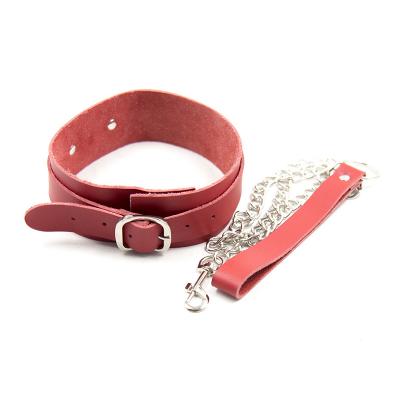 Real Leather Neck Collar and Chain Choker for Women Bondage Restraints Gear S&M BDSM Flirting Sex Toy Cosplay Fetish Sex Product