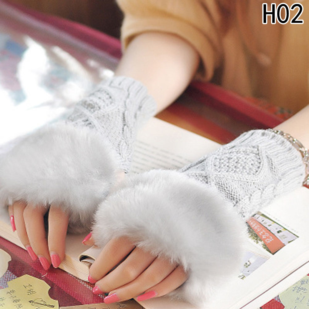 Fashion Women Faux Rabbit Fur Hand Wrist Crochet Knitted Fingerless Gloves Knitting Mittens Winter Autumn Warmer D18110806