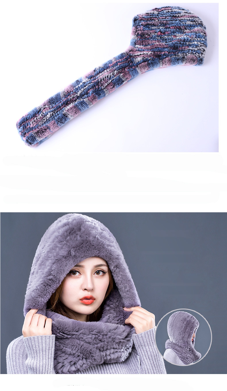 Hat Women 2017 New Knitted Real Rex Rabbit Fur Hat Hooded Scarf Winter Warm Natural Fur Hat With Neck Scarves (7)