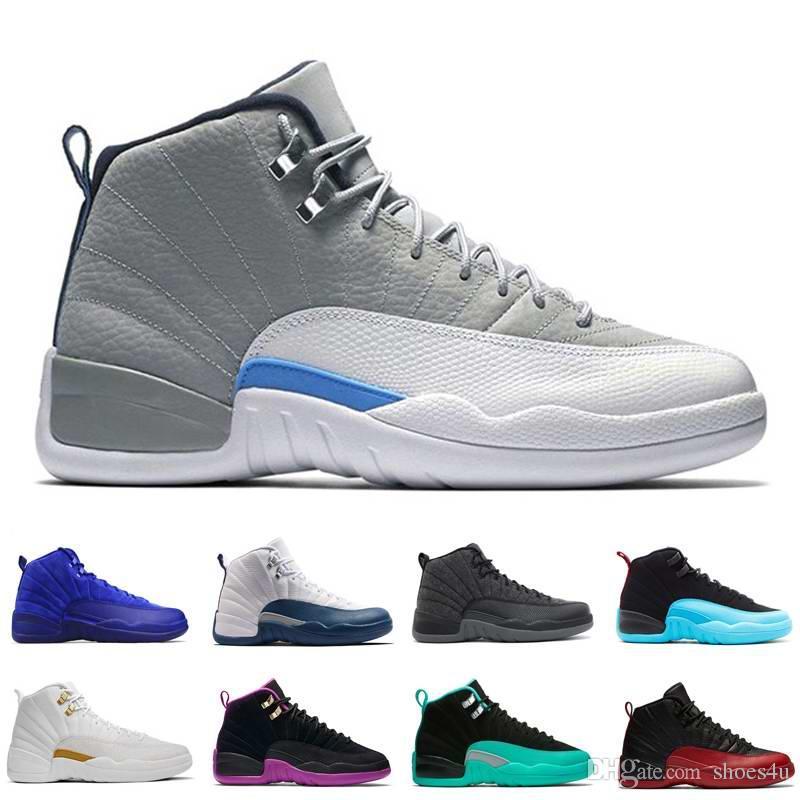 [Avec Boîte] Drop Shipping Super Parfait Qualité Pas Cher 12 12s XII Flu Jeu Français Bleu Le Maître Hommes Basketball Sport Chaussures US5.5 13