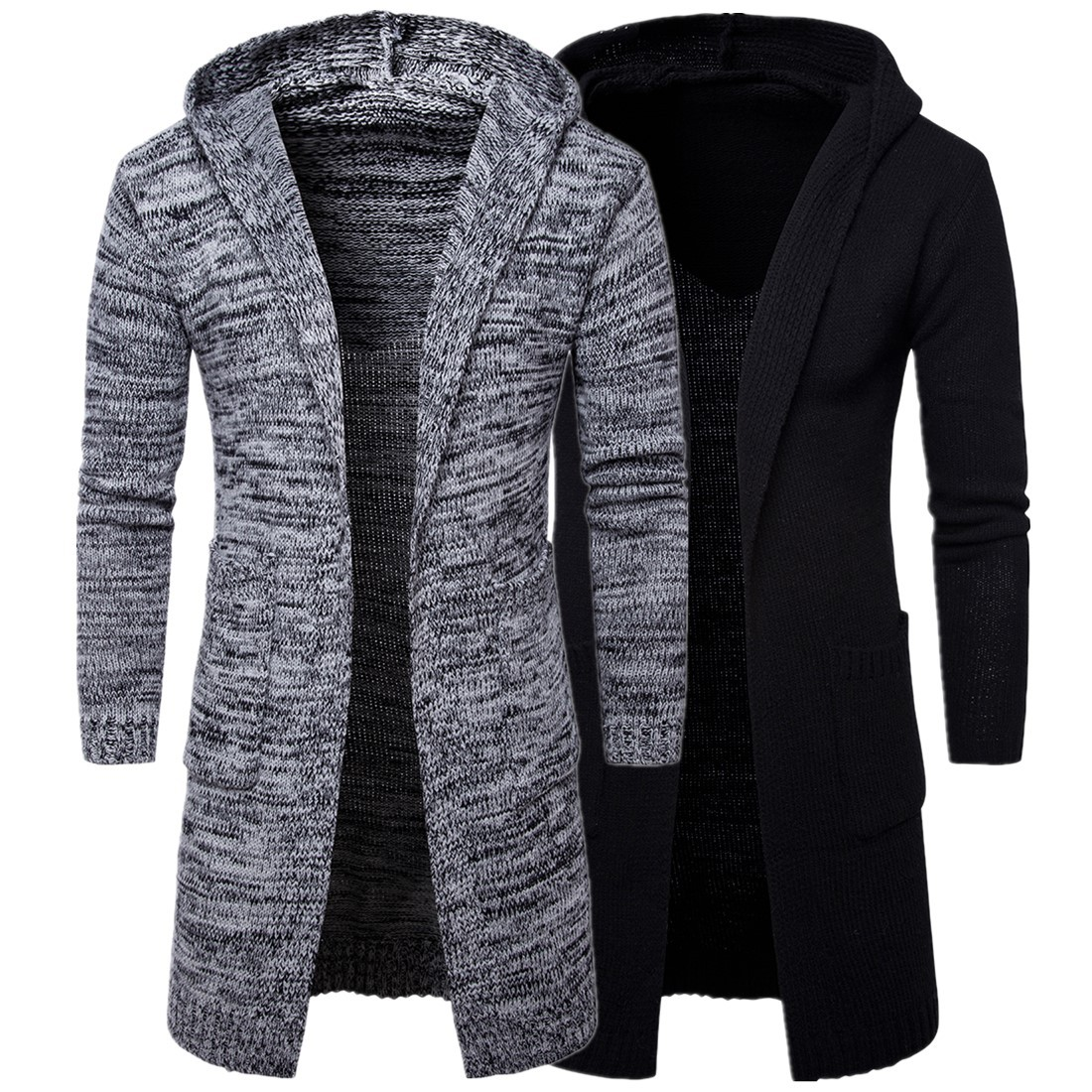 Solid Hooded Cardigan Autumn Men Sweater Fashion Korean Style Long Sleeve Male Long Cardigan Sweater Slim fit Casual Winter Hooded Sweater