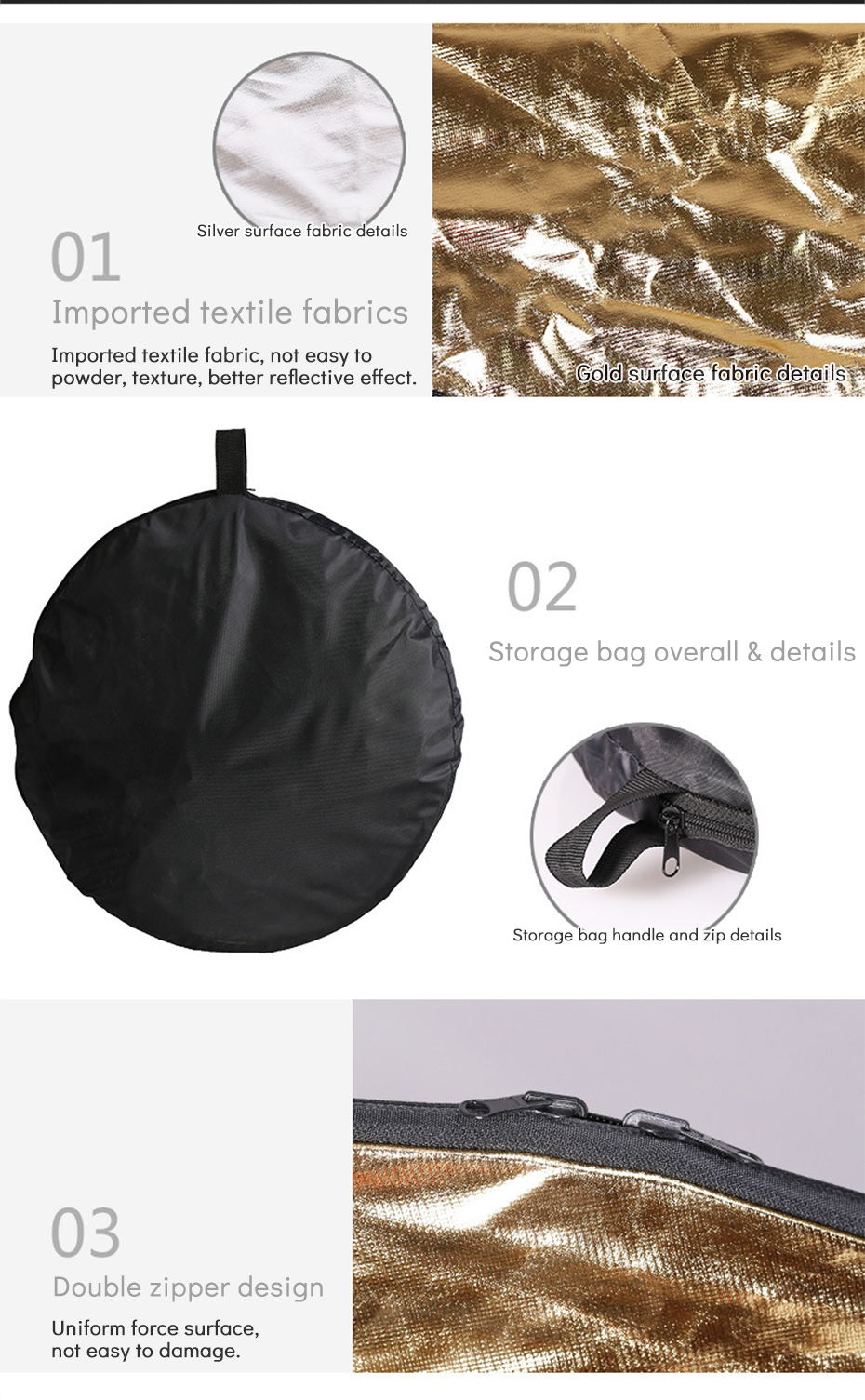 TiYiViRi 60CM 80CM 5 in 1 Collapsible Multi-Disc Light Reflector Round PhotographyPhoto Reflector with Cariing Bag for Studio (2)