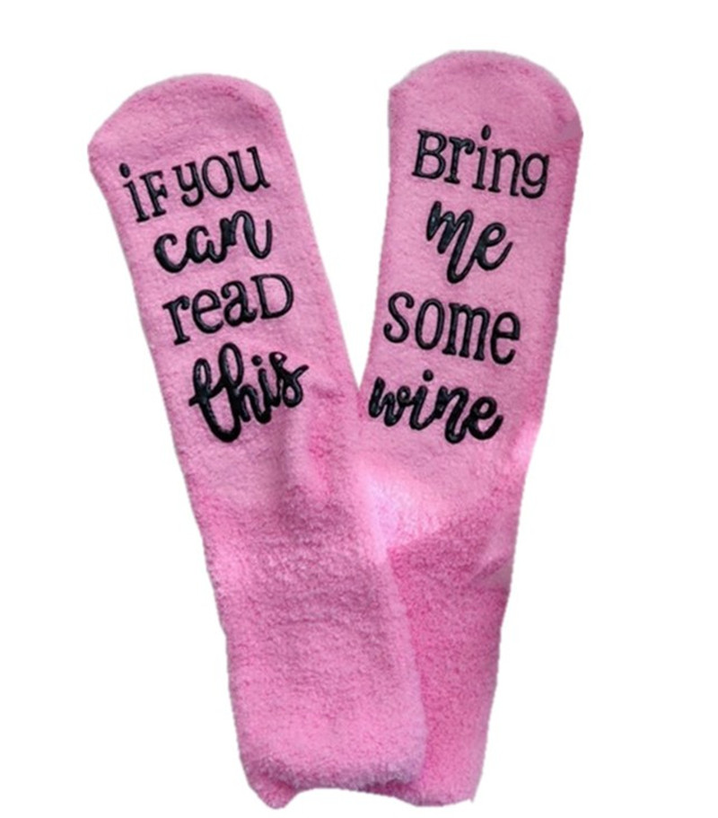 Women Winter Socks IF YOU CAN READ THIS Bring Me Some Wine coffee Letter Christmas Socks Pink girls Stockings Funny Floor Sock Best Gift