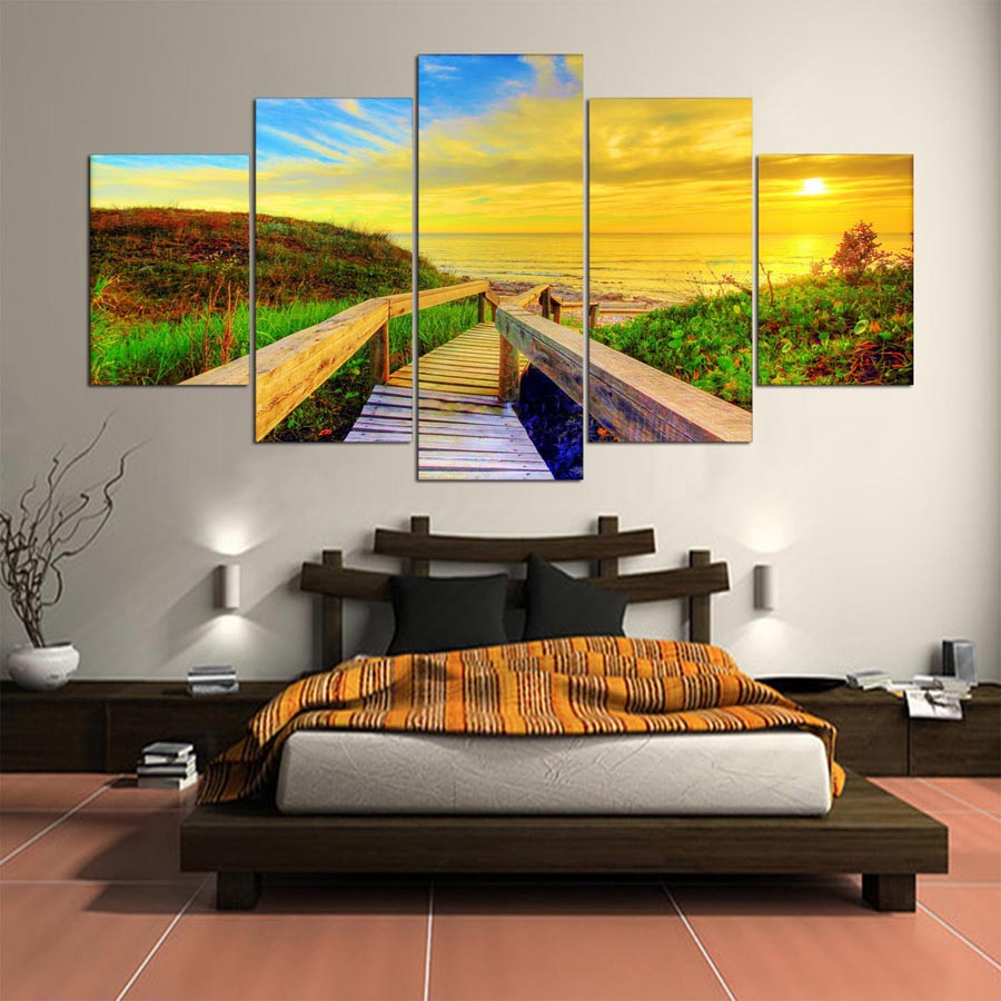 Modern Printing Picture Poster Canvas 5 Panel Sunset Landscape Painting HD Print Wall Art Pictures Modular Painting Home Decoration