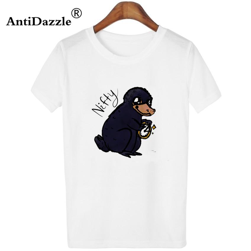 Antidazzle Fantastic Beasts e onde encontrá-los Niffler Mulheres T-shirt Engraçado Hipster Design Tees Tops T-shirt O-pescoço Impresso