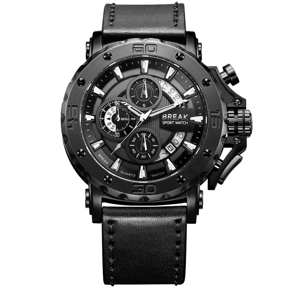 BREAK Chronograph Quartz Watches Military Genuine Leather Luxury Brand Fashion Casual Sport Wrist Watch Relogio Masculino C18110601
