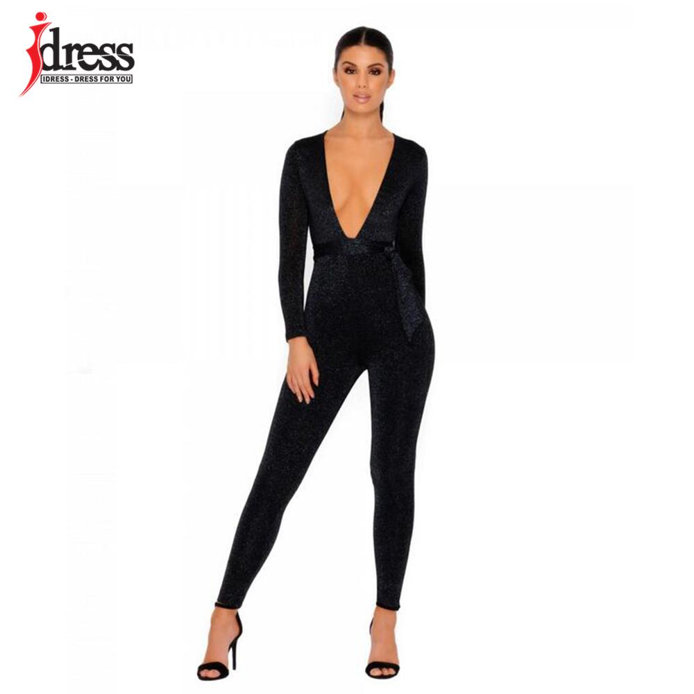 IDress 2018 New Spring Autumn Women\`s Sexy Long Sleeve Black Gold Illusion V Neck Sashes Bodysuit Elegant Rompers Women Jumpsuit (10)