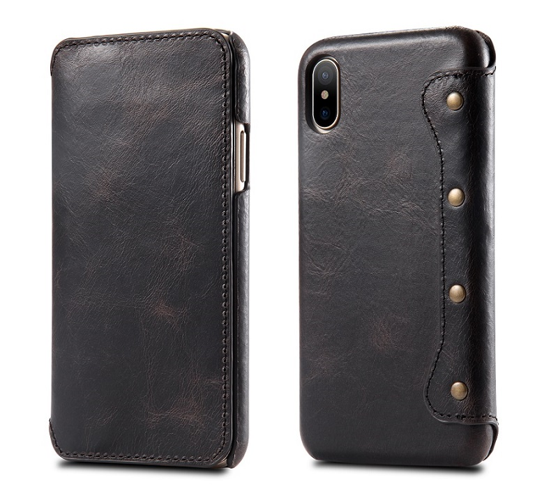 black solque phone cover case for iPhone x luxury genuine card flip cover